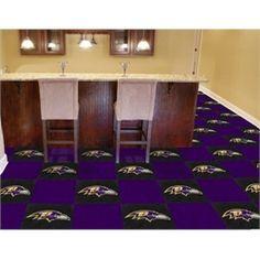 """Baltimore Ravens Carpet Tiles  Flooring :: $184.95 for 20 tiles (18"""" x 18"""" each) / 45 square feet"""