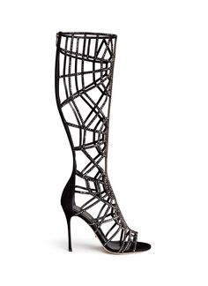 SERGIO ROSSI 'Puzzle' suede strass cutout cage sandal boots.  Look at those NICE SHAPE. Nice fit guaranteed!