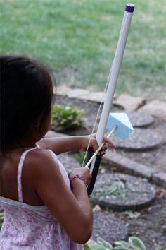 PVC Bow and Arrow.  Aidan loves archery!  I think my son-in-law or daughter and I will be going to the hardware store.  They can play with this all summer if I make a target
