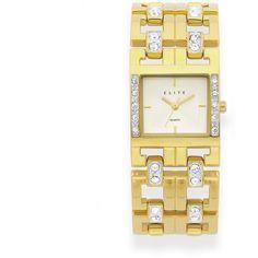 Elite Ladies Gold Tone Stone Set Watch
