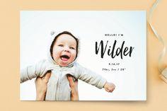 Simple Hello Birth Announcements