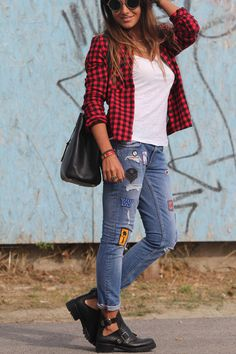 http://depointeenblanc.com/2013/10/04/checkered-shirt-and-jeans-with-patches-heres-my-underground-style/
