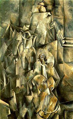 ARTE CUBISTA: Violino e Brocca - Georges Braque (artista francese) - 1910. Kunstmuseum, Basilea.