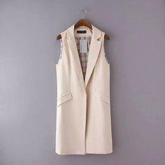 Nice Women Long Vest Coat 2016 New Fashion European Elegant Office Suits Casual Sleeveless Jacket Female Waistcoat Colete Feminino