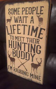 Deer Hunting Buddy Rustic Wood Sign Primitive Cabin Camp Decor Wooden Nursery