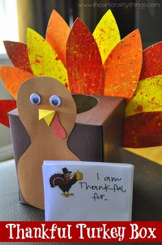 Make a Turkey out of a tissue box and put thankful notes in it every day. Read the notes together as a family on #Thanksgiving. www.iheartcraftythings.com