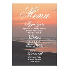 Tropical Wedding Menu Tropical Beach Ocean Sunset Wedding Menu Card