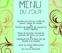 Exemple de Menu du jour en Novembre !!