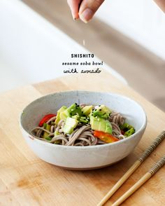 soba noodles with shishitos and avocado / @loveandlemons