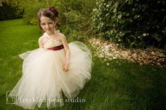 Ivory FLower Girl Tutu Dress  YOU Pick Sash by littledreamersinc