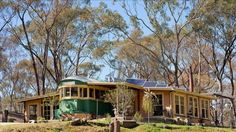 MADE IN MELBOURNE: An entire home has been fashioned around a striking green-and-yellow W-class tram.