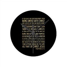 Scriptural Bible Verse - Philippians 2:1-5 Clock