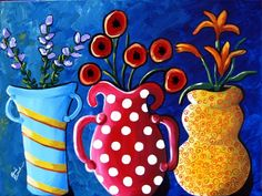 """""""Three Vases"""" by Renie Britenbucher, NE Ohio // Three different, colorful vases are filled with three different kinds of flowers. // Imagekind.com -- Buy stunning, museum-quality fine art prints, framed prints, and canvas prints directly from independent working artists and photographers."""