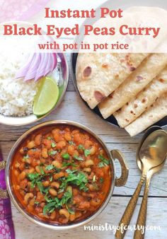 This Black Eyed Peas Curry is cooked in the Instant Pot with a delicious  onion, tomato Healthy Curry Recipe, Veggie Recipes Healthy, Vegetarian Recipes Videos, Healthy Indian Recipes, Curry Recipes, Easy Chicken Recipes, Instant Pot Curry Recipe, Instant Pot Dinner Recipes, Delicious Dinner Recipes