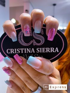 Classy Nail Designs, Cute Acrylic Nail Designs, Bling Acrylic Nails, Best Acrylic Nails, Hot Nails, Swag Nails, Gorgeous Nails, Pretty Nails, Bright Nails
