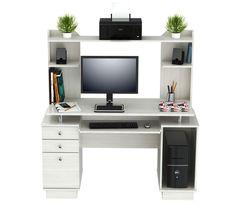 Latitude Run Inessa Engineered Wood Computer Desk with Hutch Computer Desk Design, Computer Desk With Hutch, Desk Hutch, Computer Desks, Home Office Desks, Home Office Furniture, New Furniture, Vintage Furniture, Space Saving Desk