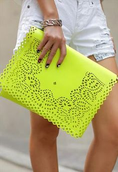 SALE ‼️Neon yellow cutout clutch Super cute used once, neon clutch fits a good amount of stuff in. Faux leather little spots can be wiped off. ‼price is firm unless bundled ‼️ Bags Clutches & Wristlets Mellow Yellow, Neon Yellow, Neon Clutch, Yellow Clutch, Sacs Design, Mode Inspiration, Mode Style, Beautiful Bags, Purses And Handbags