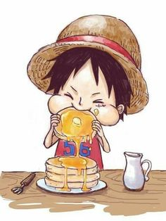 Monkey D. Luffy, cute, young, childhood, eating, pancakes; One Piece