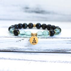 Mala Bracelet Wrist Mala Beads Blue Tiger Eye w por MishkaSamuel