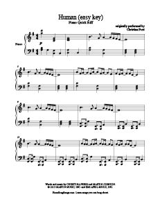Human - Christina Perri (easy key). Free sheet music for 300 songs at www.PianoBragSongs.com.
