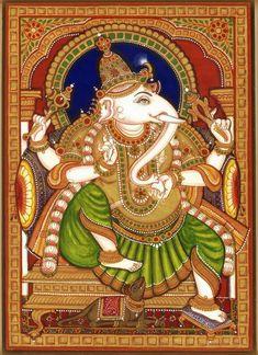 Mysore Painting, Kalamkari Painting, Tanjore Painting, Ganesha Painting, Buddhist Art, Indian Gods, Art Drawings, Diy Crafts, Paintings