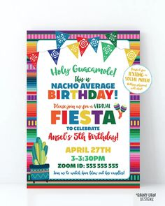 Virtual Fiesta Invitation Nacho Average Birthday Fiesta Invite, Holy G – Rainy Lain Designs Invitation App, Digital Invitations, Party Invitations, Invite, Printing Services, Online Printing, Love Tips, Fiesta Party, Unicorn Party