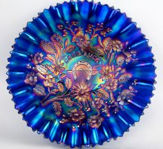 by NORTHWOOD ~ STUNNING BLUE CARNIVAL GLASS PIE CRUST EDGE BOWL Cobalt Glass, Cobalt Blue, My Glass, Glass Art, Blue Carnival Glass, Antique Glassware, Vintage Carnival, Indiana Glass, Fenton Glass