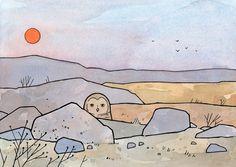 Burrowing Owl - Desert Sunset - Art Print by 100owls on Etsy