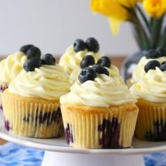 Lemon blueberry cupcakes for a pretty spring dessert.