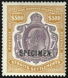 1908 Strait Of Malacca, Straits Settlements, Crown Colony, Old Stamps, Labuan, Five Hundred, Trade Centre, Stamp Collecting, Southeast Asia