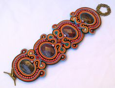 branzoletka Soutache Bracelet, Soutache Jewelry, Polymer Clay Canes, Shibori, Beaded Embroidery, New Product, Jewelry Crafts, Seed Beads, Macrame