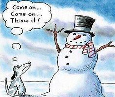 Patience my little grasshopper, patience.    #snowman #dog #comic