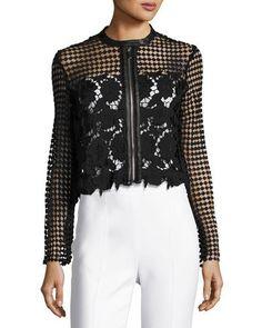 Floral-Lace Zip-Front Jacket, Black