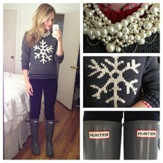 Pearls, snowflake sweater, Hunter boots. Such a cute winter outfit.