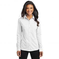 Port Authority L570 Ladies Dimension Knit Dress Shirt - White 9301e1133b93