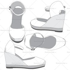 Women's espadrilles fashion flat vector template in four different views in detailed sketch easy to use for manufacture.
