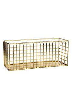 Dorado. Cesta rectangular de alambre en metal. Medidas 8,5x10x24 cm. Cestas acdda47ba60