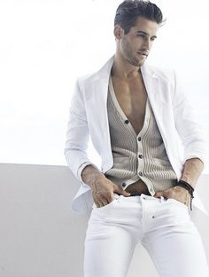 Sweater, jacket, white jeans.  #men #fashion