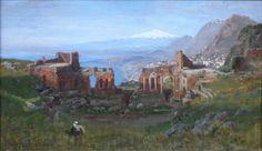 Carl Wuttke Peinture Taormina 1890.
