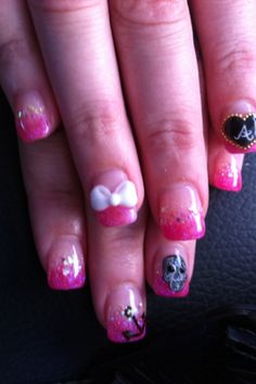 Japanese Nail Art love pink tip with white bow