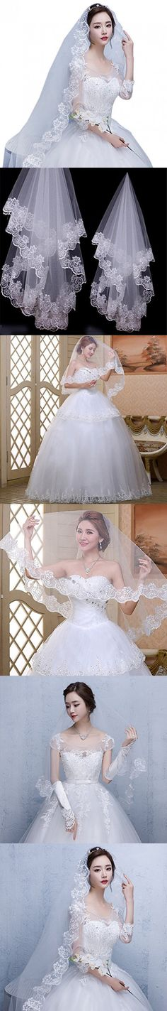 Eliffete 2017 Lace Short White Bridal Veil Wedding Veils for Bachelorette