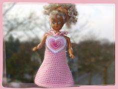 Puppenkleidung - *** Minikleid mit Herz ***  für Barbie *** rosa - ein Designerstück von Sabisilke bei DaWanda