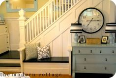 bench, dressers, stair molding