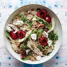 Cherry, Chicken, and Pecan Wheat Berry Salad | MyRecipes.com, Cooking Light 2014. Very tasty.  I skipped the onions b/c I don't like onions and used dried cherries. Loved the arugula!