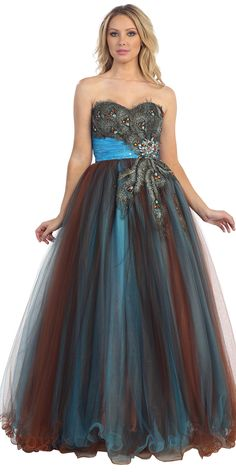 23f2d743577 Turquoise Ruched Waistband Strapless Sweetheart Peacock Accents on Bodice  Tulle Layered Long Ball Gown LT5166-