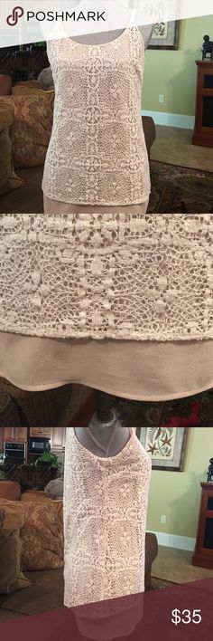 Cami by Cabi Camisole style top by Cabi. 2 layer top with cream lace on top and beige color underneath .  Perfect condition. CAbi Tops Camisoles