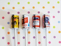 24 Retro Beer Can Cupcake Toppers w/ Printable DIY Tags via #Etsy - perfect for a man shower