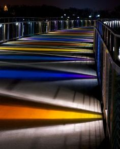 Grays Lake Bridge, Des Moines, IA - another pathway option Light Architecture, Landscape Architecture, Architecture Design, Exterior Lighting, Outdoor Lighting, Landscape Lighting Design, Public Space Design, Bridge Design, Pedestrian Bridge
