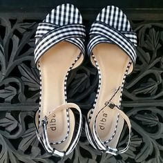 Diba Shoes | Diba Black White Gingham Ankle Strap Shoes | Poshmark Ankle Strap Shoes, Gingham, Kitten Heels, Wedges, Pumps, Black And White, Polka Dots, Stains, Wedge
