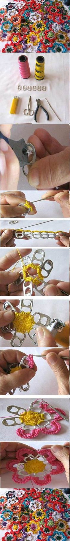 DIY Pull Tabs Crochet Flowers flowers diy crafts home made easy crafts craft idea crafts ideas diy ideas diy crafts diy idea do it yourself diy projects diy craft handmade Crochet Motif, Crochet Yarn, Crochet Flowers, Crochet Patterns, Sweater Patterns, Diy Home Crafts, Easy Crafts, Sewing Crafts, Soda Tab Crafts